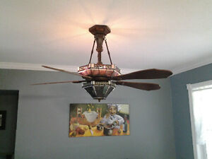 Tiffany style lighted ceiling fan