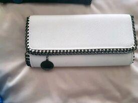 White designer clutch bag
