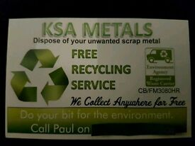 KSA METALS free scrap metal collection covering all areas of manchester 7 days a week