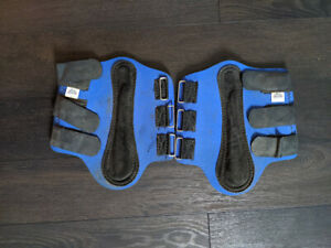 Two royal blue medium sized moderately used splint boots
