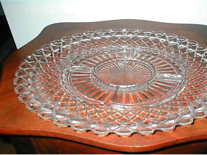 1930s Waterford Waffle Glass Relish Tray