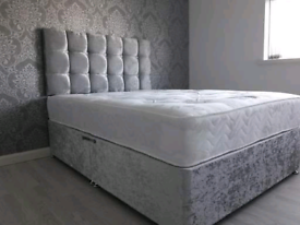 SALE!! Brand New Crushed Velvet Divan Bed Base with Mattress
