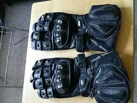 Frank thomas leather/carbon fibre motorcycle gloves