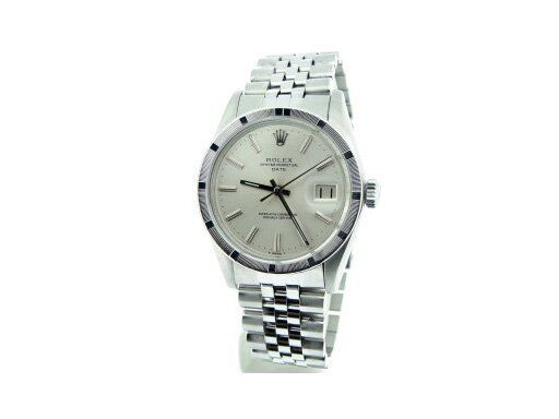 Mens Rolex Date Stainless Steel Watch Jubilee Style Band Silver Stick Dial 1501
