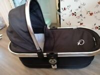 Icandy peach carrycot with little green sheep wool mattress