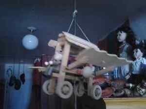 HANDMADE WOOD FLYING AEROPLANE APPARTMENT MARIONETTE WITH TOILET