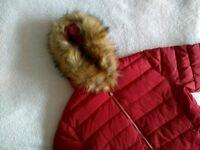 Red Puffa Coat - Faux Fur Hood - Women's Size 12