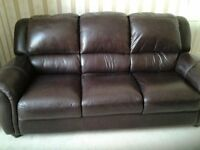 Brown Real Leather 3 Seater Sofa- 3 and 1 seater and foot stool