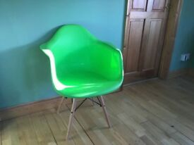 Green designer dining chairs (2 available)