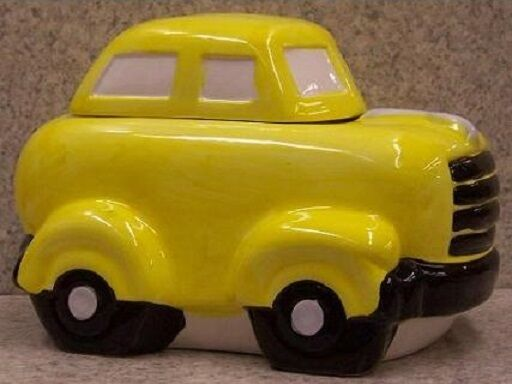 "Ceramic Cookie Snack Jar Yellow Automobile Sedan 6 1/4"" tall NEW"