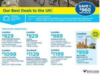 Deals to the Ireland & UK!  Book by Aug 30 2016