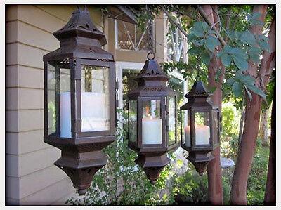 "3 bulk lot Black Moroccan Hanging 13"" Candle holder Lantern wedding centerpiece"