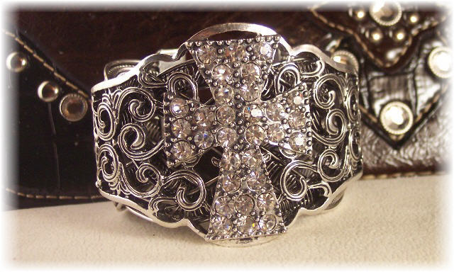 New  Rhinestone Cross Cuff Jewelry  Bracelet Western/Cowgirl/Rodeo BLING