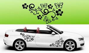 2x Butterfly Flower Vinyl Car Graphics Stickers Decals Big Many colours