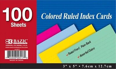 Bazic 100 Ct 3 X 5 Ruled Index Colored Cards 4 Assorted Colors 100 Sheets