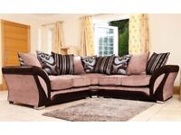 SUPERB QUALITY-- WOW OFFER BRAND NEW SHANNON CORNER SOFA in LEATHER & CHENILLE FABRIC,