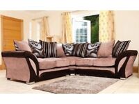 BRAND NEW SHANNON CHENILLE FABRIC CORNER SOFA OR 3+2 SEATER SET IN BLACK GREY OR BROWN MINK COLOUR