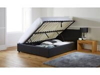 Side Lifted black double ottoman bed frame