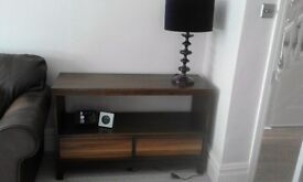Walnut open dresser with 2 drawers + matching nest of tables