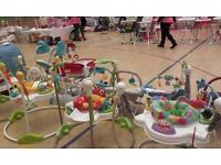 Bouncers, playmats, jumperoos, high chairs, moses baskets, travel cots and lots more
