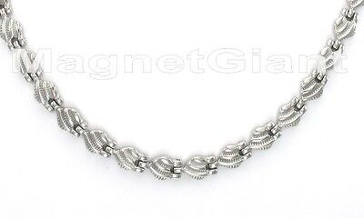 Silver magnetic stainless steel 316L links necklace(18, 19, 20, 21 and 22 inchs) Stainless Steel Magnetic Link Necklace