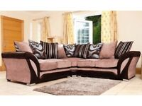 SAME DAY FAST DELIVERY - GREY OR BROWN BRAND NEW SHANNON CORNER SOFA in LEATHER & CHENILLE FABRIC,