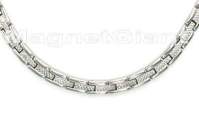 Silver magnetic stainless steel 316L link necklace (18, 19, 20, 21, 22 inchs) Stainless Steel Magnetic Link Necklace
