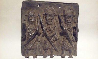 Benin Ife Cast Bronze Plaque of Oba with Warriors