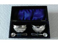 Pair Silver plated salt pots with spoons