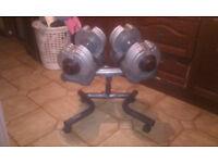york dial tech dumbbells(5-32.5kg adjustable dumbbells) and stand