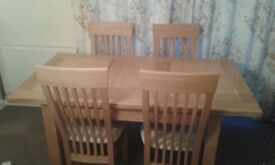 Matching quality dining room suite table, chairs, two sideboards/cupboards in light oak, immaculate