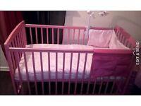 pink baby cot