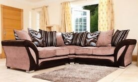 VERY FEW LEFT-- LIMITED EDITION- BRAND NEW SHANNON CORNER SOFA in LEATHER & CHENILLE FABRIC,