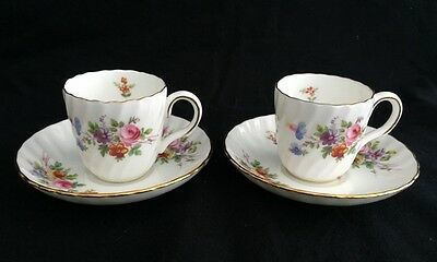 Set of 2 Minton Marlow Wreath Backstamp Gold Trim Flat Demitasse Cups & Saucers
