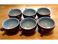 SIX RETRO DENBY HOMESTEAD BROWN AND BLUE CERAMIC SOUP BOWLS
