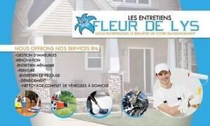 paysagement,toiture,entretien ménager,peinture,lavage automobile