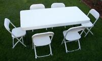 WHITE FOLDING CHAIR /TENTS/ TABLE..