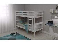 WHITE WOODEN KIDS BUNK BED