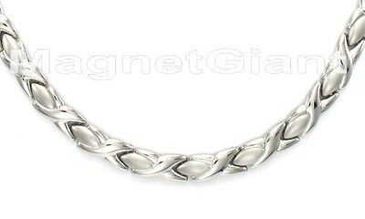 Silver Women hugs & kisses magnetic stainless steel 316L links necklace - XOXO