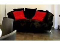 Black Fabric 3 Seater Sofa