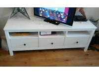 IKEA Hemnes solid wood white 3 drawer tv unit (149x47). Excellent condition, only £100
