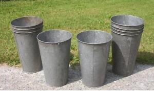 6 Vintage OLD GALVANIZED Maple Syrup Sap Buckets TAPERED NICE W@W