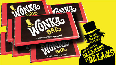 Willy Wonka Chocolate Bar Gift Golden Ticket Inside Great all year round gift