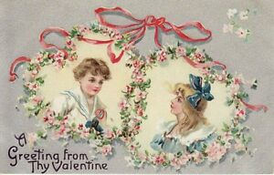 Antique-VALENTINE-POSTCARD-c1910s-Girl-Boy-Heart-Wreaths-Silver-Embossed