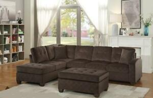 New Sectional in a Chocolate Fabric.  10 Available.  Ottoman Sold Separately *Layaway Plans Available*