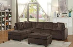 New in Boxes!!!  Reversible Chocolate Sectional Only $899 *Layaway Available* Ottoman Sold Separately