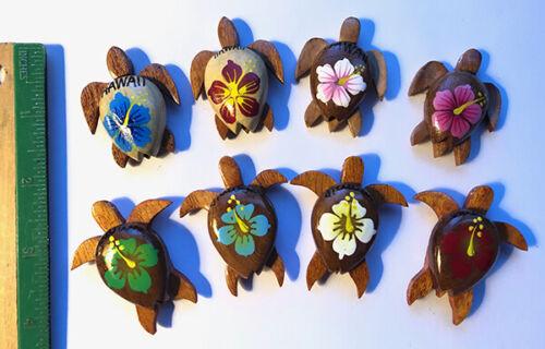 8 Hawaiian Turtle Hibiscus Magnets Jewelry Wood Hawaii Rainbow Gifts Aloha New