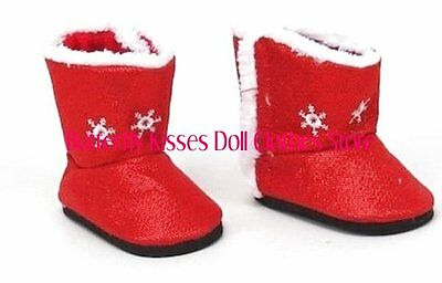Red Snowflake Boots 18 in Doll Clothes Fits American Girl - Girl In Red Boots