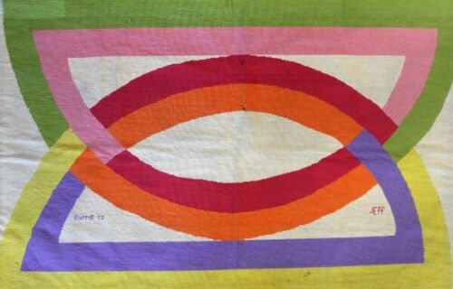Abstract Design Hand-Needlepoint c1971 Rug