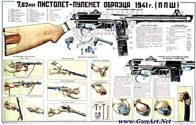Color POSTER Of Soviet Russian 7.62x25 PPSh-41 Submachine Gun LQQK & BUY NOW!